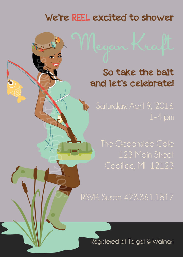 Fishing Mama Baby Shower Invitation- African American