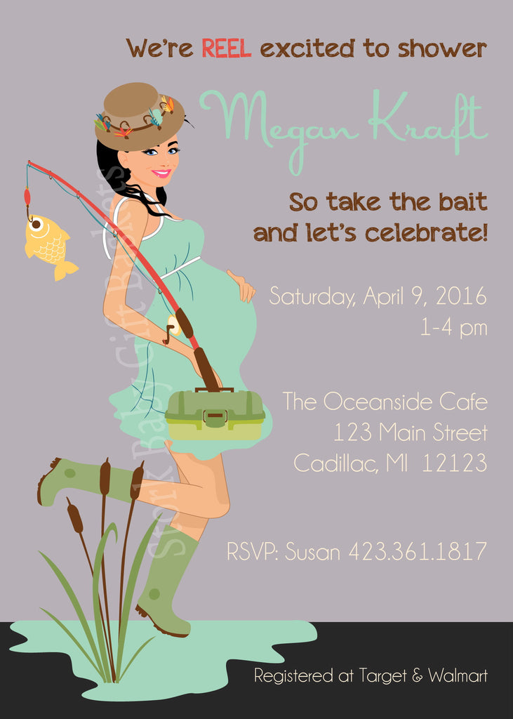 Fishing Mama Baby Shower Invitation - Black Hair
