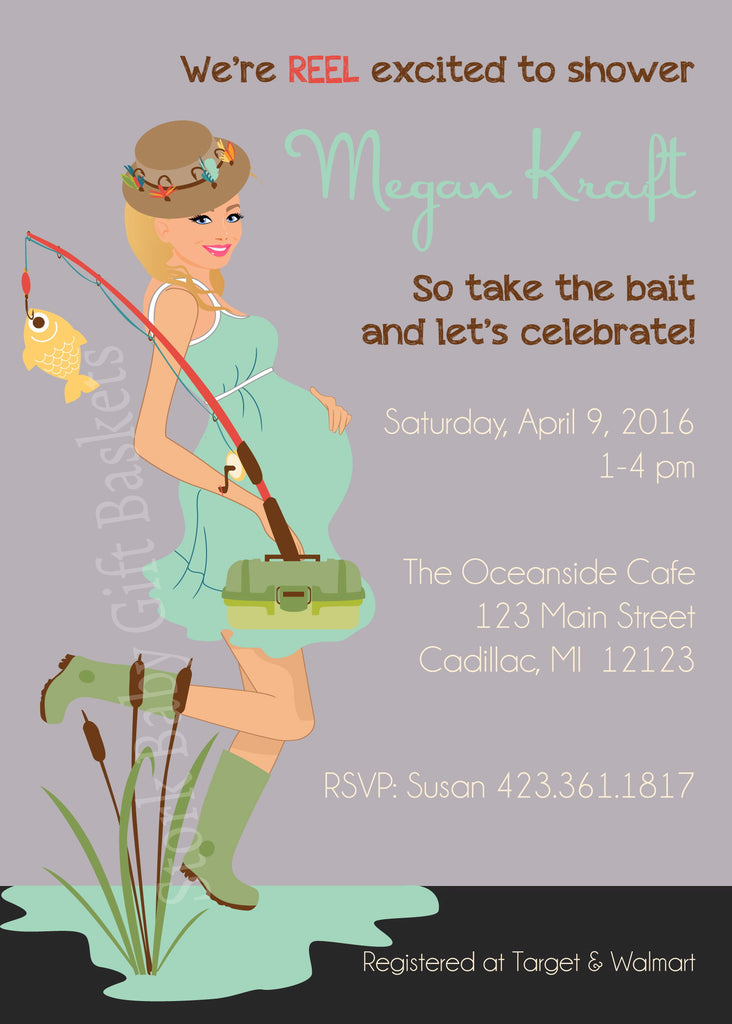 Fishing Mama Baby Shower Invitation - Blonde