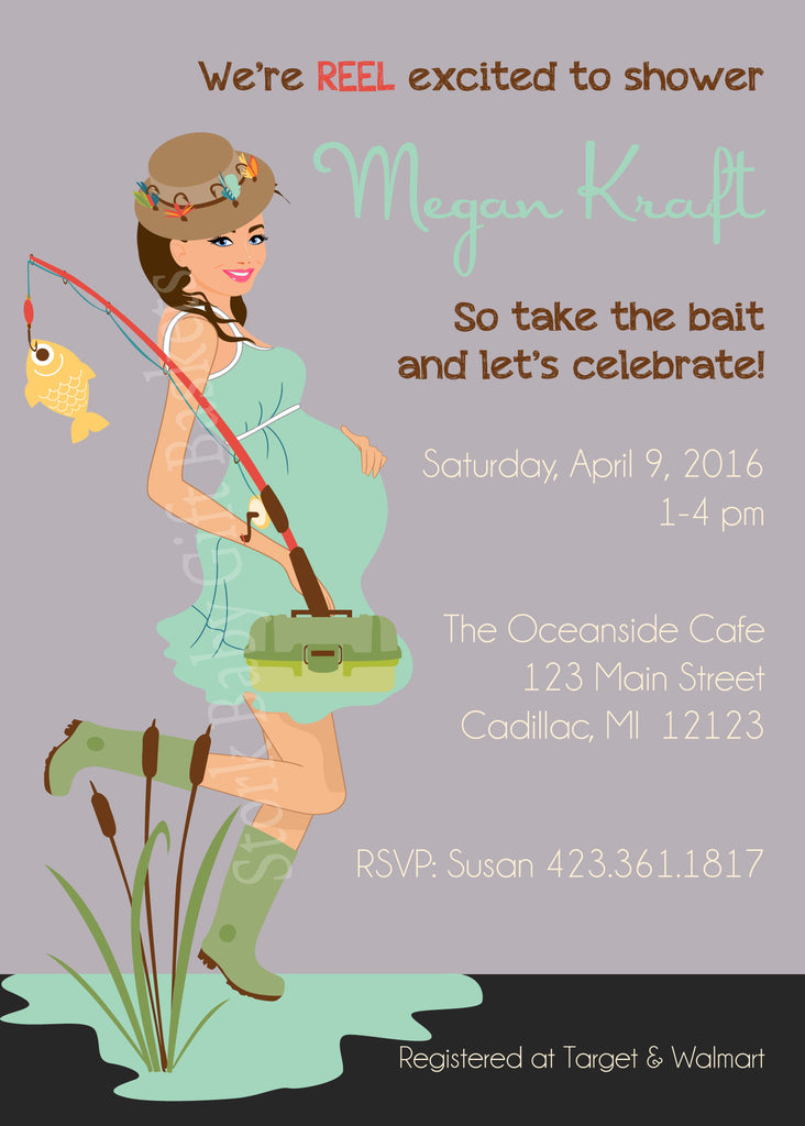 Fishing Mama Baby Shower Invitation (#SBGB110) - StorkBabyGiftBaskets - 1