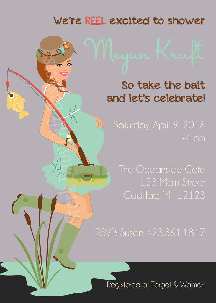 Fishing Mama Baby Shower Invitation- Brown Hair
