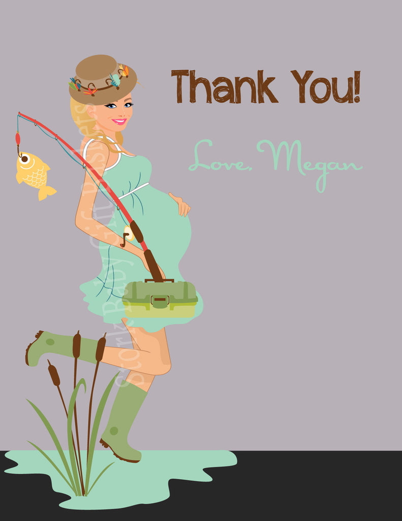 Fishing Mama Baby Shower Invitation - Thank You Card