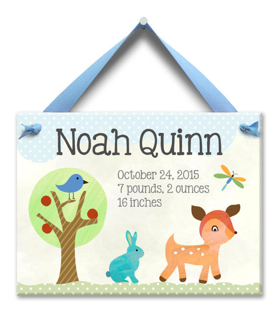 6fdcfdb19 Forest Friends Baby Boy Wall Tile - Personalized Keepsake Baby Gifts ...