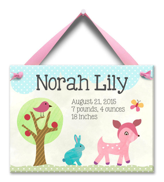 Forest Friends Baby Girl Wall Tile (#LWC-020G) - Stork Baby Gift Baskets