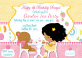 Garden Tea Party Girl's Birthday Invitation (#KBI104) - StorkBabyGiftBaskets