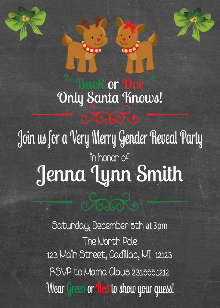 Chalkboard Christmas Gender Reveal Invitation (#SBGB97) - StorkBabyGiftBaskets