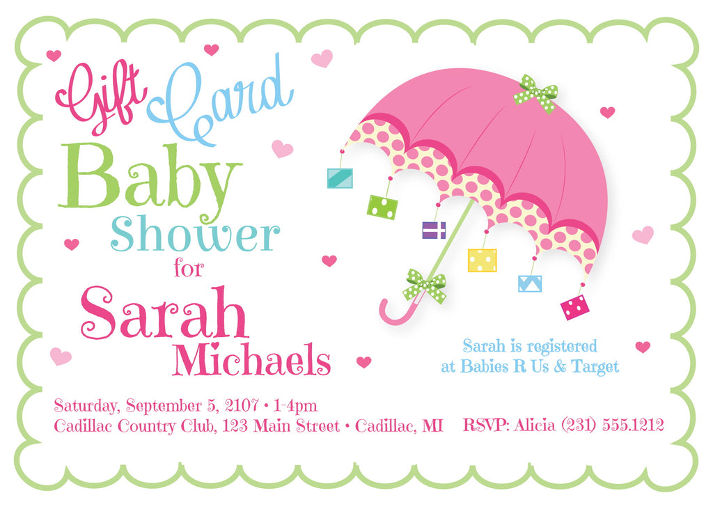Gift Card Baby Shower Invitations
