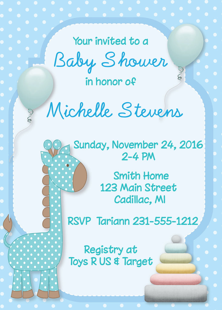 Giraffe Boy Baby Shower Invitation - StorkBabyGiftBaskets