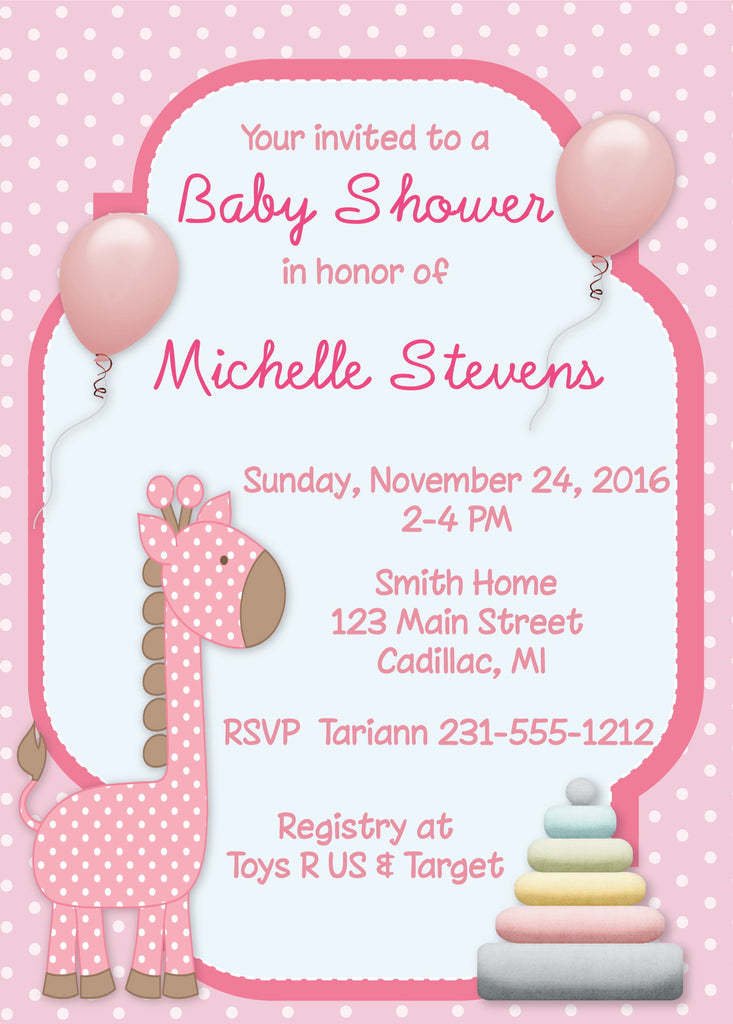 Giraffe Girl Baby Shower Invitation Storkbabygiftbaskets