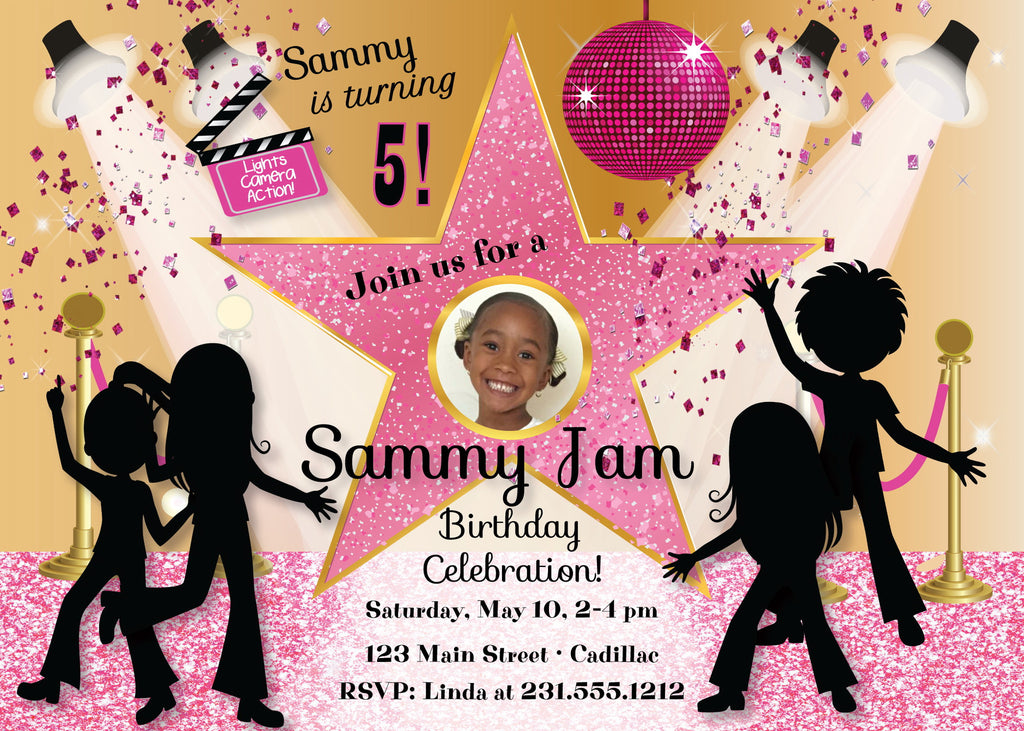 Hip Hop Hollywood Girl's Photo Invite (#KBI113) - Stork Baby Gift Baskets
