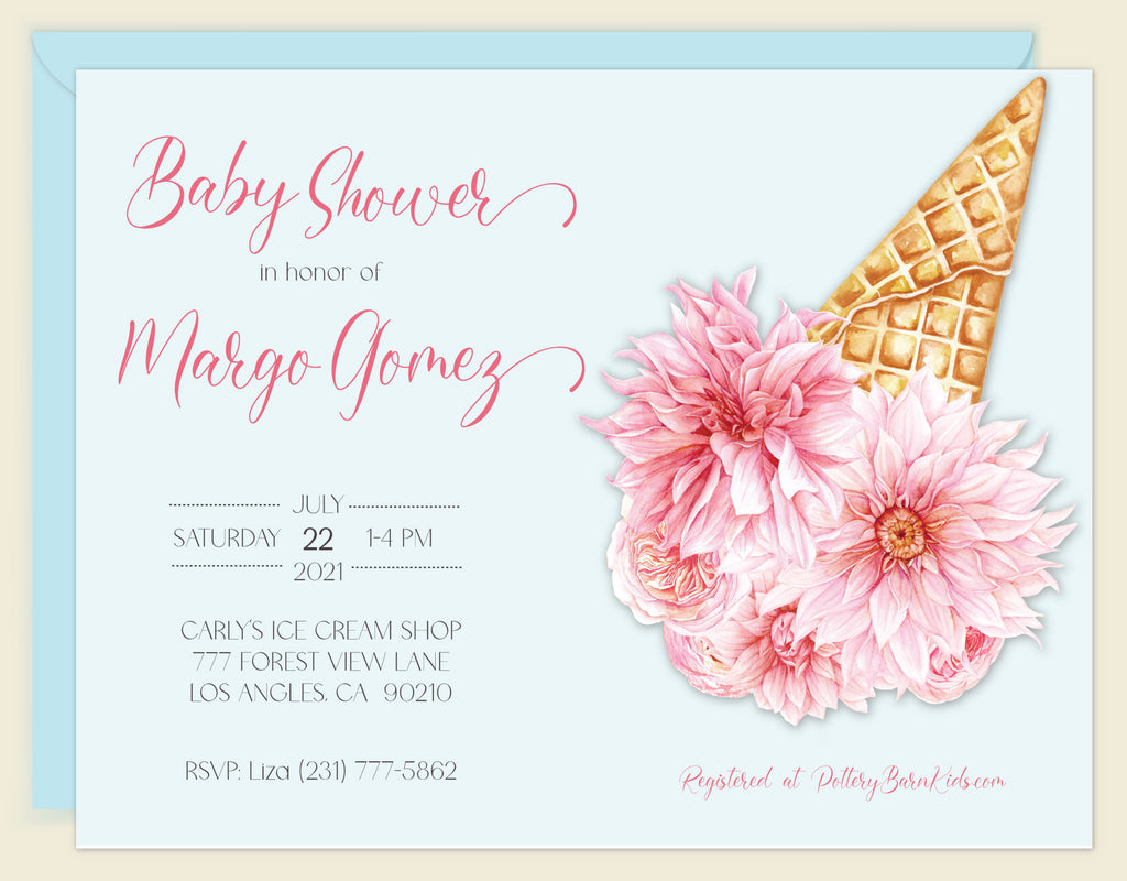 Ice Cream Floral Baby Shower Invitation
