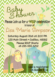 Wild Jungle  Baby Animals Baby Shower Invitaiton (#SBGB39) - StorkBabyGiftBaskets