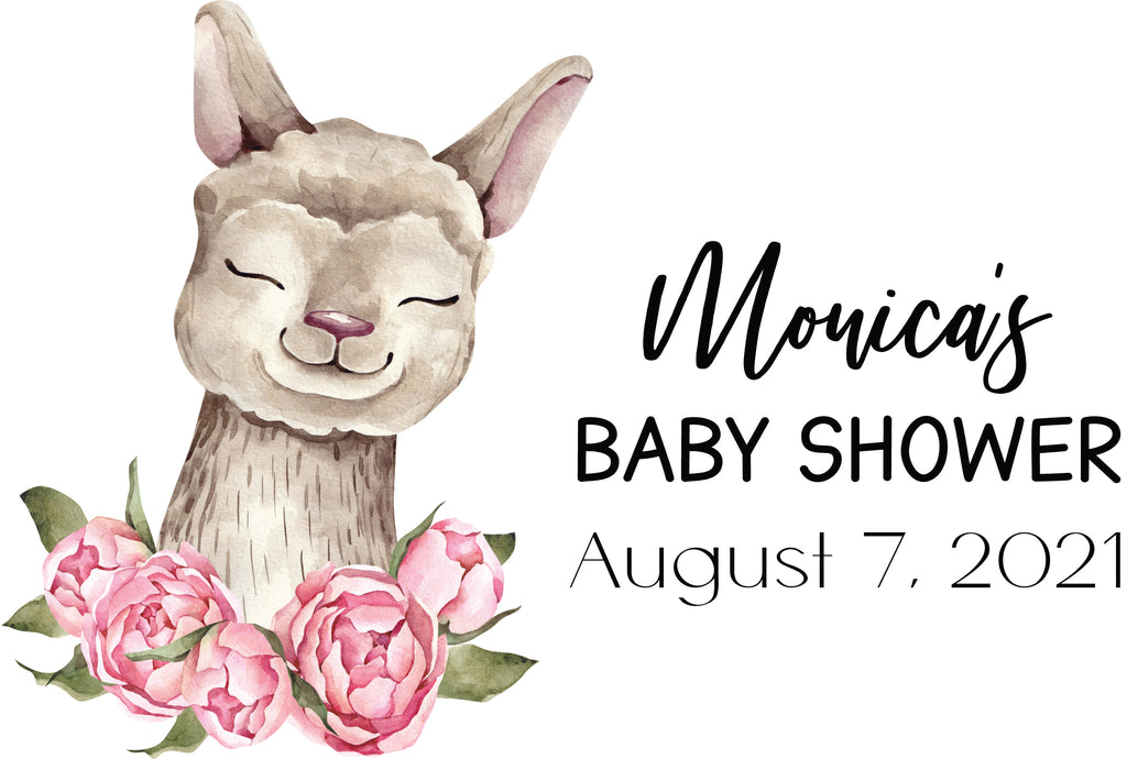 Llama Baby Shower Water Bottle Labels