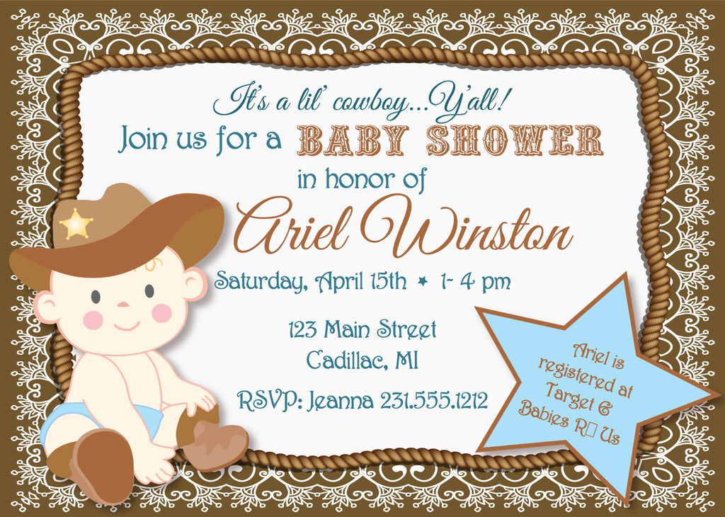 Baby shower invitations stork baby gift baskets lil cowboy baby shower invitation sbgb90 filmwisefo