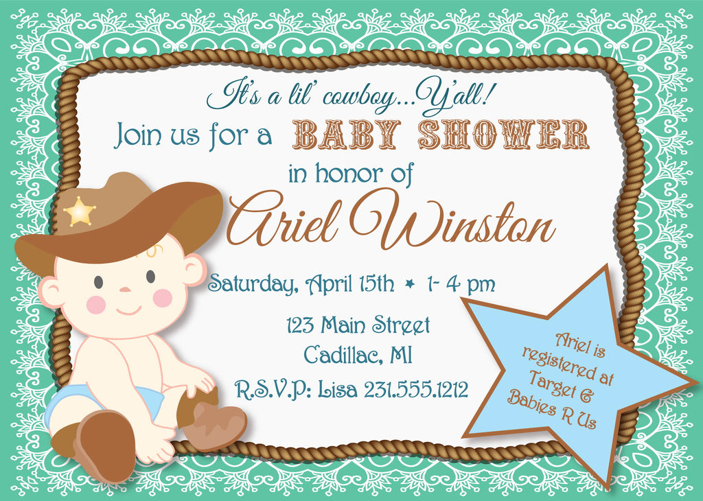 lil 39 cowboy baby shower invitation sbgb90 storkbabygiftbaskets