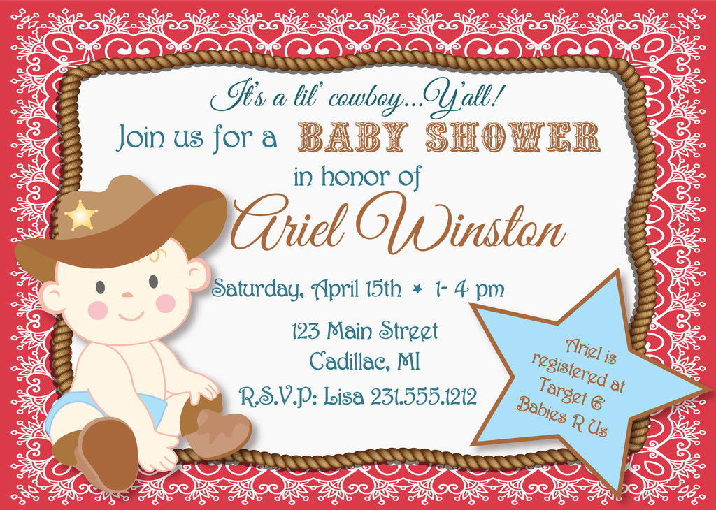 Lil' Cowboy Baby Shower Invitation (#SBGB90) - StorkBabyGiftBaskets - 2