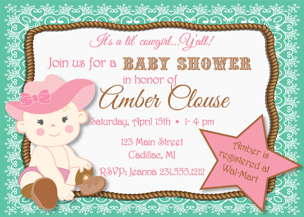 Lil' Cowgirl Baby Shower Invitation (#SBGB89) - StorkBabyGiftBaskets - 2