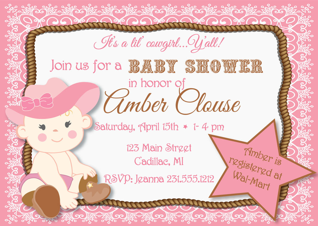 Lil' Cowgirl Baby Shower Invitation (#SBGB89) - StorkBabyGiftBaskets - 1