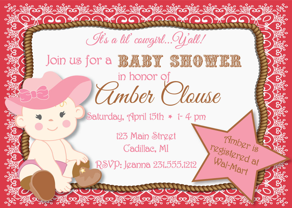Lil' Cowgirl Baby Shower Invitation (#SBGB89) - StorkBabyGiftBaskets - 3