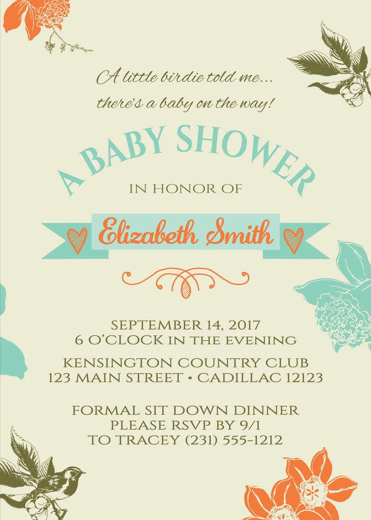 Little Birdie Told Me Baby Shower Invitation (#SBGB325) - Stork Baby Gift Baskets