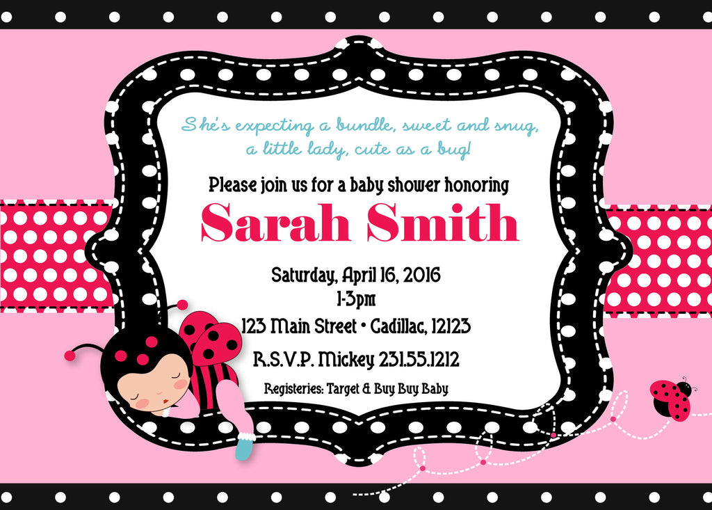 Ladybug Girl Baby Shower Invitations (#SBGB324) - StorkBabyGiftBaskets