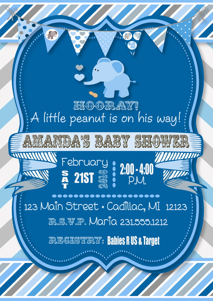 Little Peanut Elephant Baby Shower Invitations (#SBGB63) - StorkBabyGiftBaskets