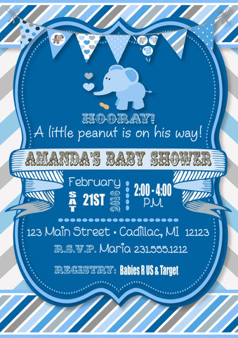 Girl Baby Blocks Shower Invitation