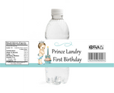 Prince First Birthday Water Bottle Label (#WBL111) - Stork Baby Gift Baskets - 1