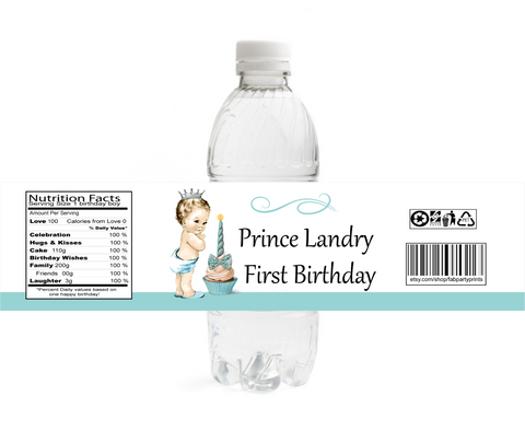 Owl 1st Birthday Girl Water Bottle Labels (#B-WBL110)