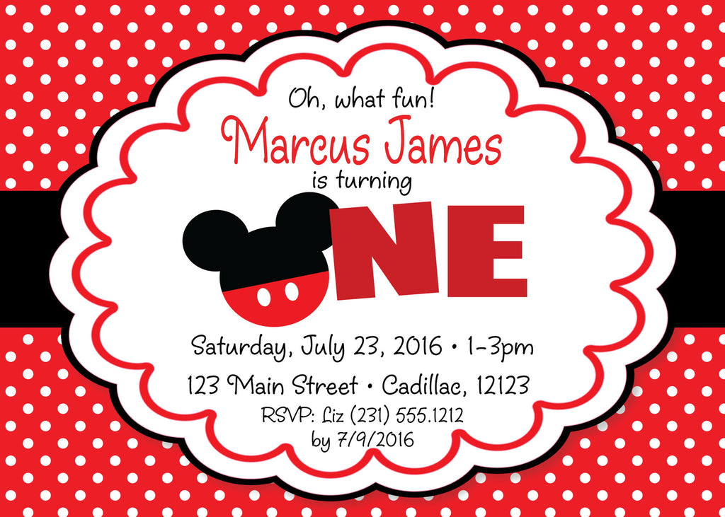 Mickey Mouse 1st Birthday Invitation (#KBI108) - StorkBabyGiftBaskets