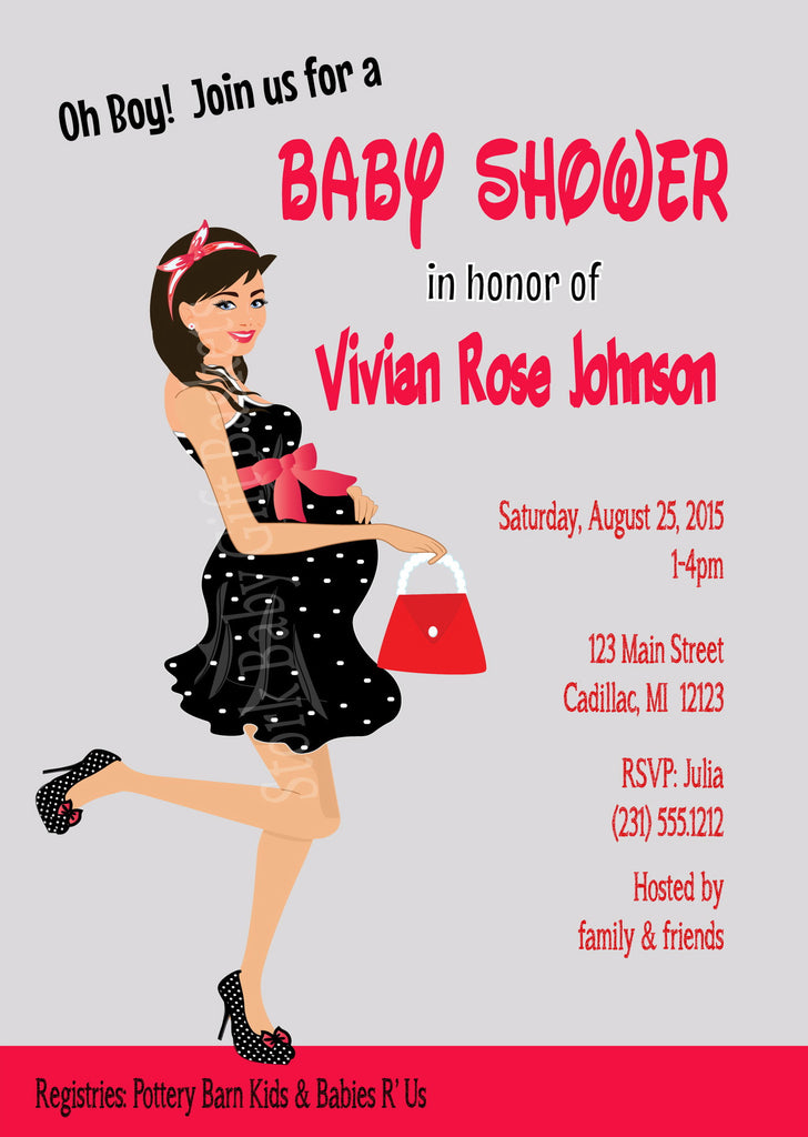 Modern Mini Mouse Girl Baby Shower Invitations (#SBGB124) - StorkBabyGiftBaskets