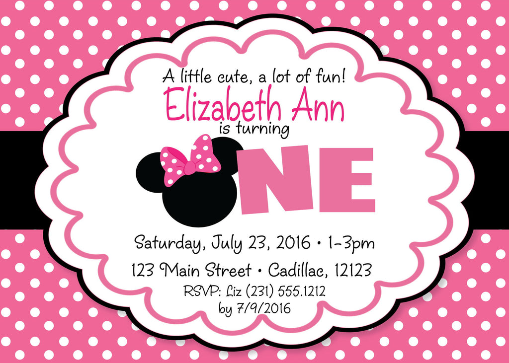 Minnie Mouse 1st Birthday Party Invitation Invite Baby First Supplies Minnie Fun to be One Pack of 24