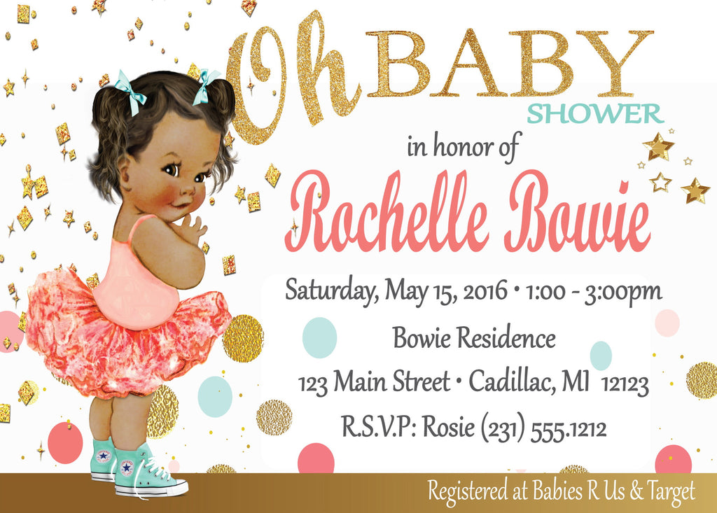 Oh Baby - Girl Baby Shower Invitations (#SBGB315) - StorkBabyGiftBaskets