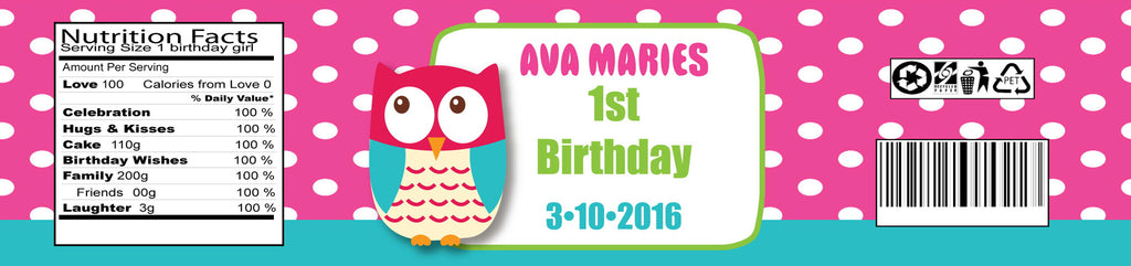 Owl 1st Birthday Girl Water Bottle Labels (#B-WBL110) - StorkBabyGiftBaskets