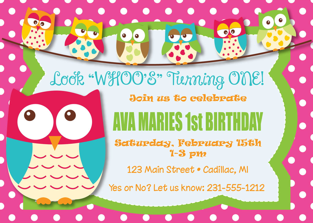 Owl 1st Birthday Invitation Girls Birthday Party Invitations