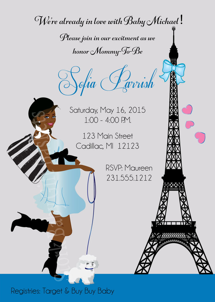 Paris Boy Baby Shower Invitations (#SBGB126) - StorkBabyGiftBaskets - 2
