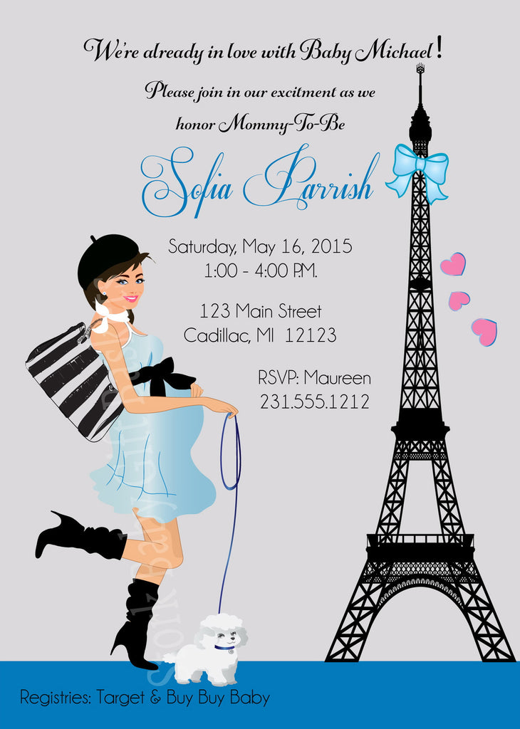 Paris Boy Baby Shower Invitations (#SBGB126) - StorkBabyGiftBaskets - 1