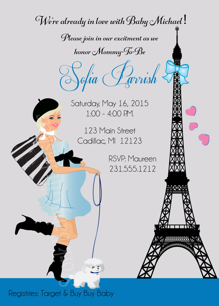 Paris Boy Baby Shower Invitations (#SBGB126) - StorkBabyGiftBaskets - 3