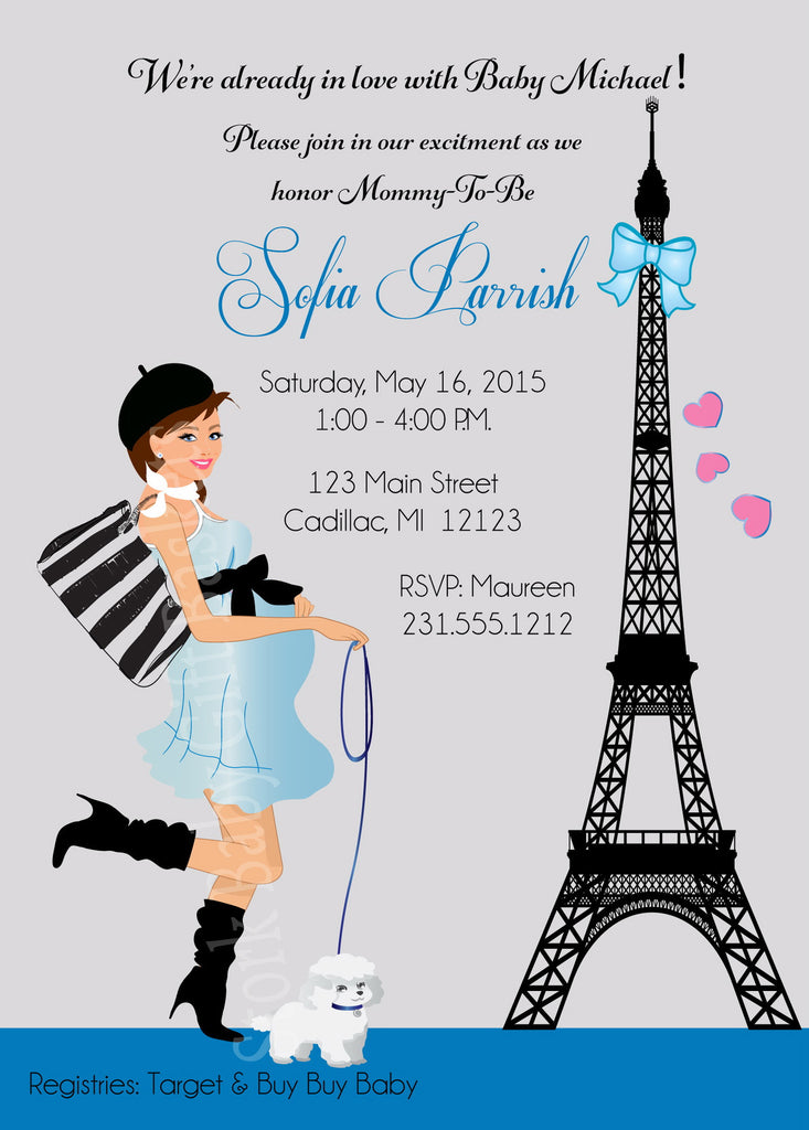 Paris Boy Baby Shower Invitations (#SBGB126) - StorkBabyGiftBaskets - 4
