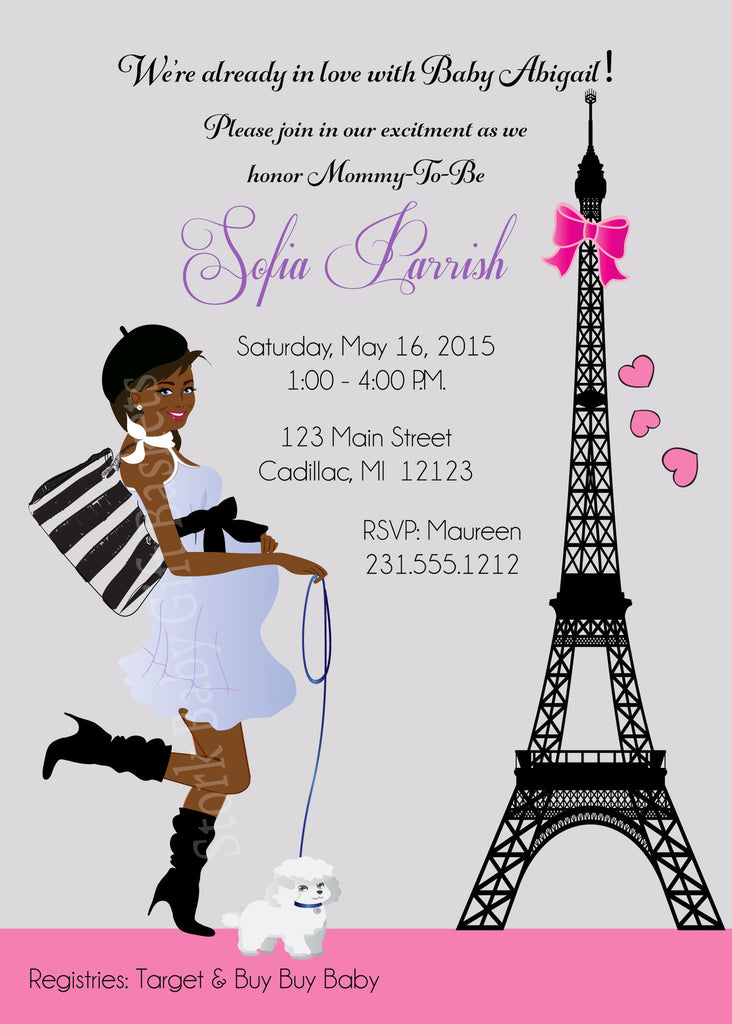 Paris Girl Baby Shower Invitations (#SBGB117) - StorkBabyGiftBaskets - 5