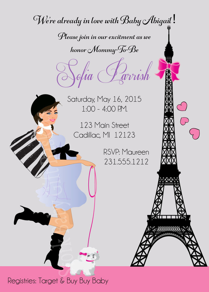 Paris Girl Baby Shower Invitations (#SBGB117) - StorkBabyGiftBaskets - 1