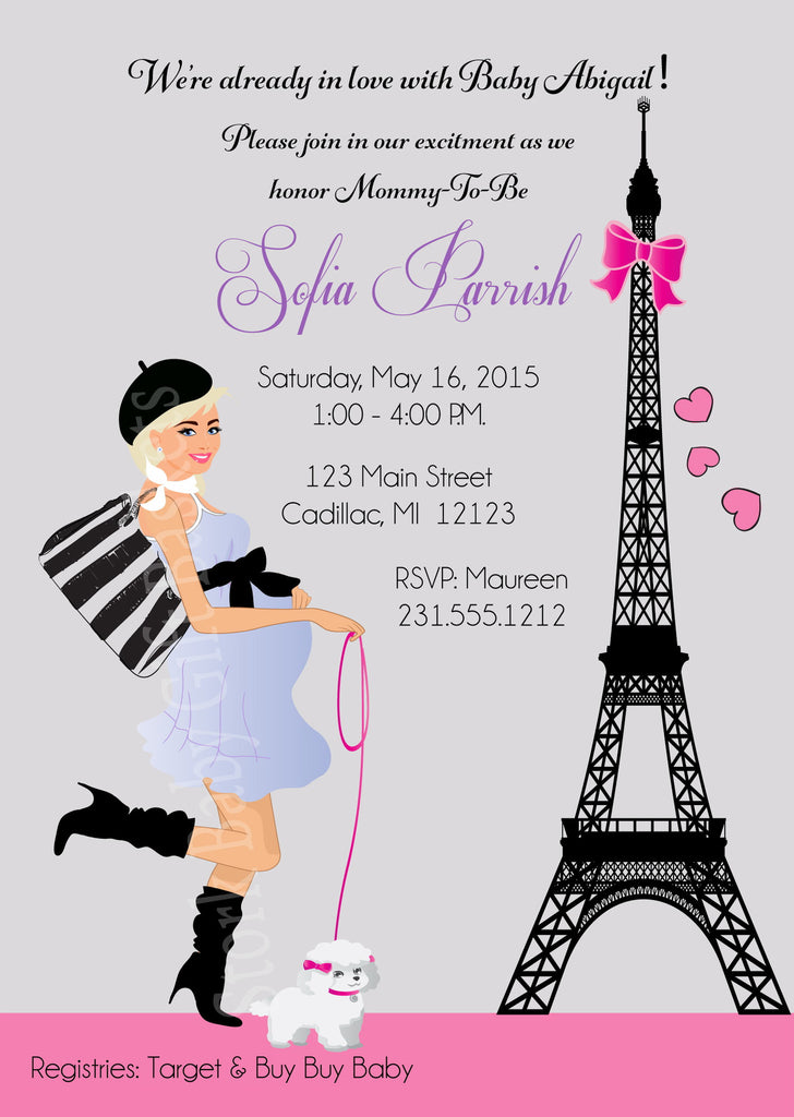 Paris Girl Baby Shower Invitations (#SBGB117) - StorkBabyGiftBaskets - 6