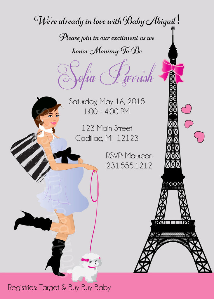 Paris Girl Baby Shower Invitations (#SBGB117) - StorkBabyGiftBaskets - 2