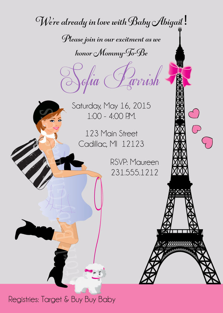 Paris Girl Baby Shower Invitations (#SBGB117) - StorkBabyGiftBaskets - 3
