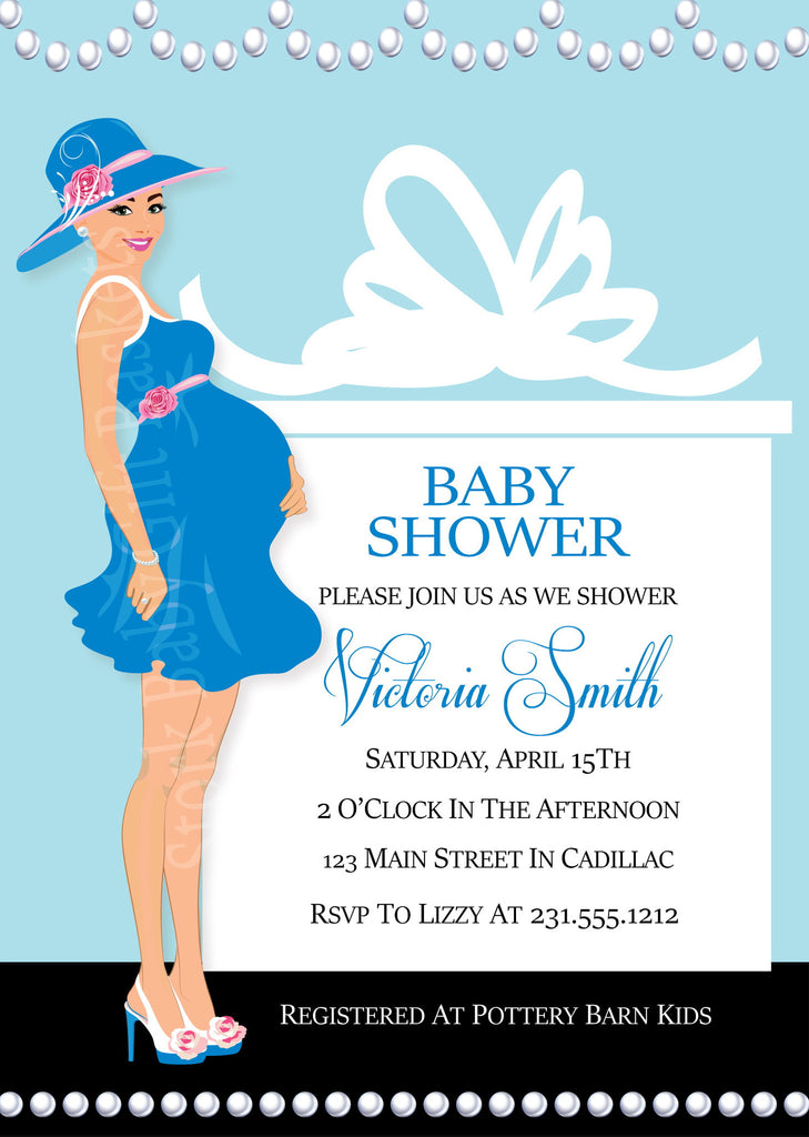 Pearls & Presents Boy Baby Shower Invitations (#SBGB311) - StorkBabyGiftBaskets