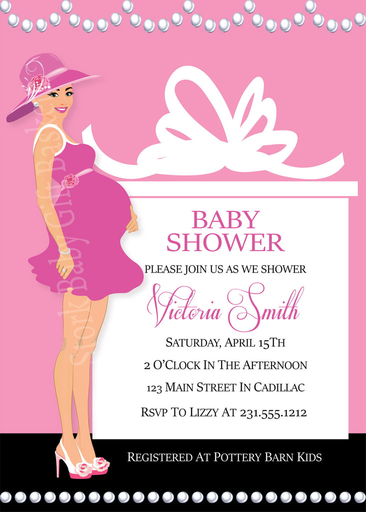 Pink, Pearls & Presents Girl Baby Shower Invitations (#SBGB303) - StorkBabyGiftBaskets