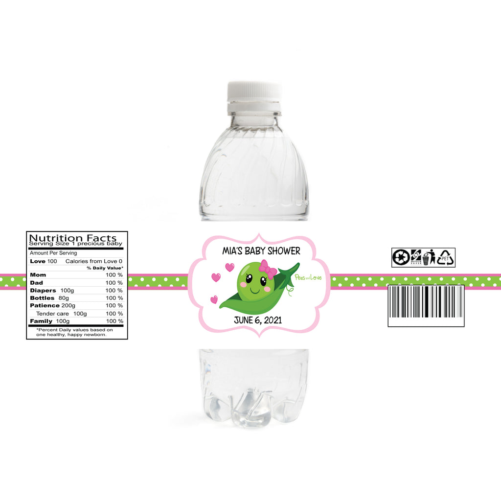 Peas And Love Baby Shower Water Bottle Labels
