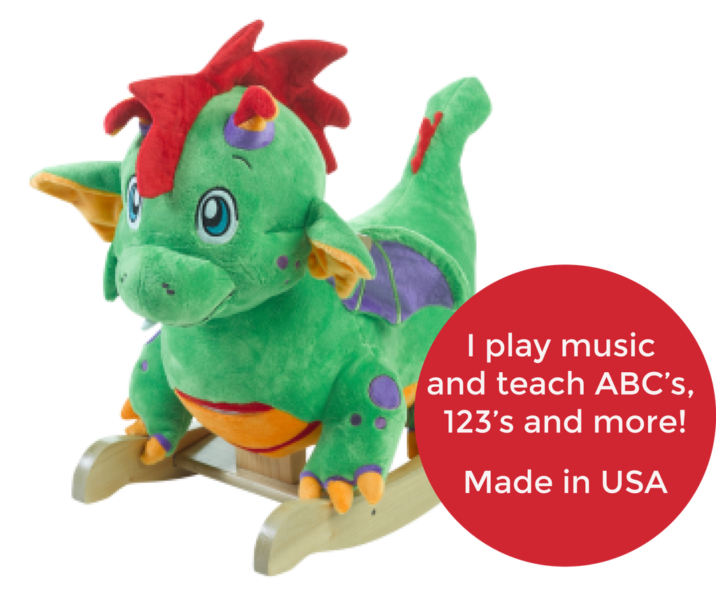 Poof Dragon Baby Boy Rocker (#RB23) - StorkBabyGiftBaskets - 2