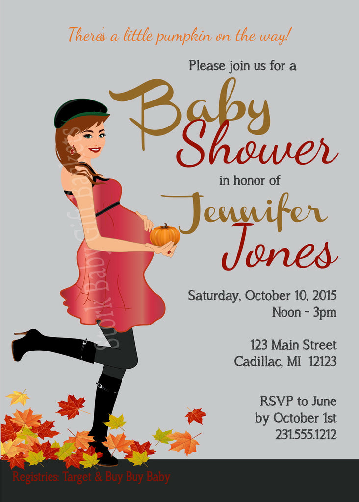 Prego Pumpkin Mama Baby Shower Invitation (#SBGB120) - StorkBabyGiftBaskets