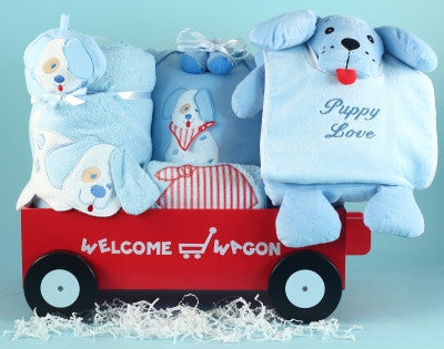 Puppy Love Wagon Baby Boy Gift (#BGC156) - Stork Baby Gift Baskets